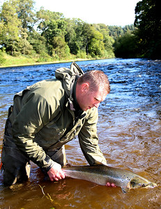 John Henderson from Hardy/Greys returning an autumn fish to the Turn Pool.