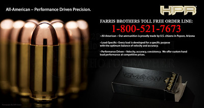 HPR Ammunition Flyer for Farris Brothers, Inc. The Photography Credit goes to HPR Ammunition (C) 2013. I created this flyer using Adobe Photoshop CS6.