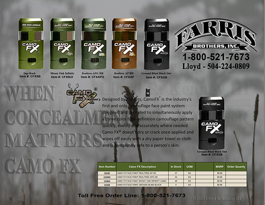 Camo FX - Designed by hunters, CamoFX® is the industry's first and only camouflage face paint system designed and patented to simultaneously apply a three color high definition camouflage pattern quickly, evenly and accurately where needed.   Background Photo By: Lloyd Kenney III ©2011