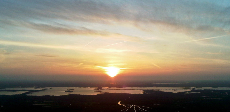 Sunset over the Loosdrechtse Plassen taken from a DG1000 Glider over Hilversum Airfield.