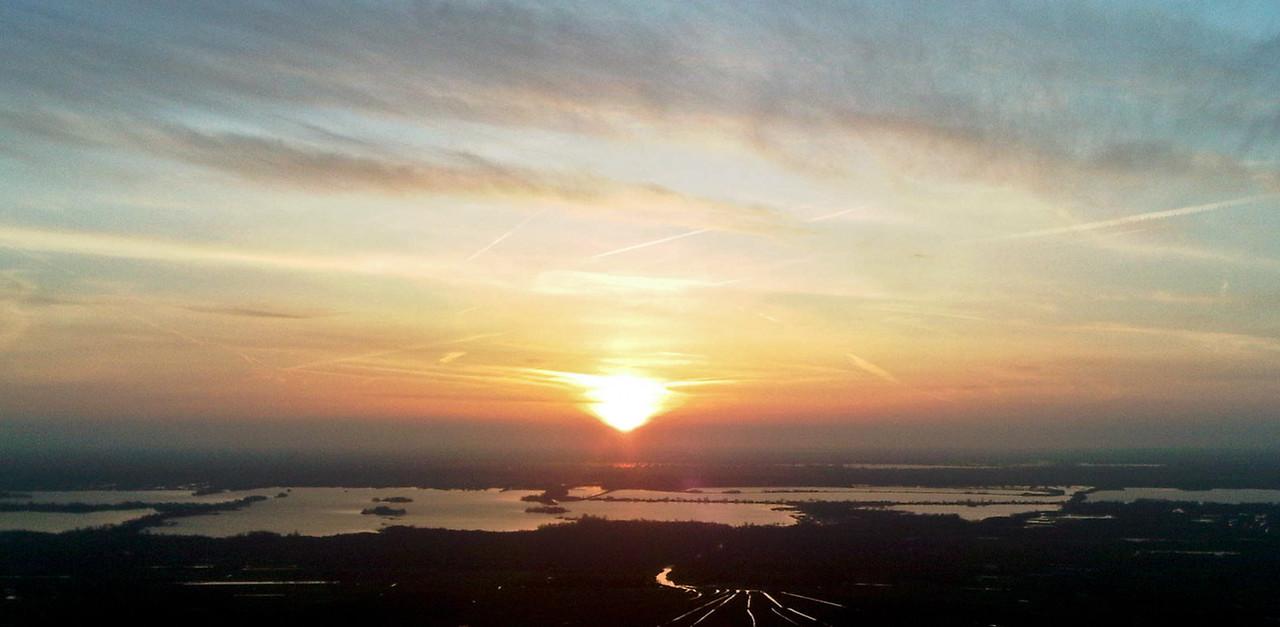 Sunset over the Loosdrechtse Plassen taken from a DG1000 Glider over Hilversum Airfield.