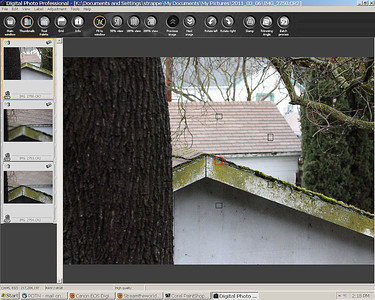 Now to check vertically. The scene. This is NOT my roof, I'm pleased to say!