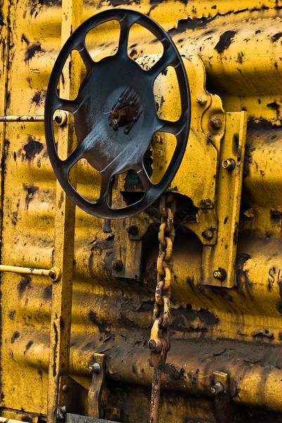 Break wheel and yellow<br /> <br /> Honorable Mention, Womag 2008 Photo Contest, Railcar, Intermodal yard by Franklin St, Worcester, MA ©2008