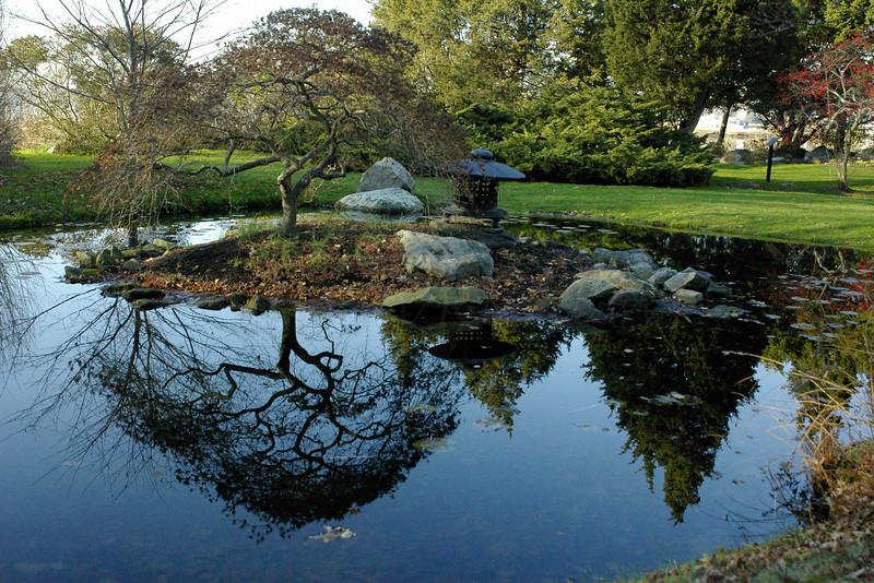 Clear reflection, oriental pond, <br /> <br /> Blithewold Arboretum, Bristol, RI ©2004