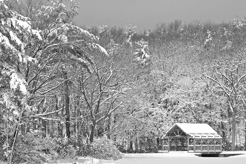 Snowshoe view of the Bridge<br /> <br /> Mill Pond and Covered Bridge at the Dam, Moore State Park, Paxtron, MA ©2006