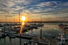 Sunset over the Folly Beach Marina, the best place for sunset on the island.