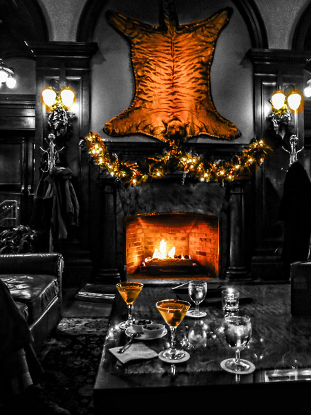 A ferocious attitude is tamed with a martini at the Bengal Lounge in the Empress Hotel in Victoria, Canada.