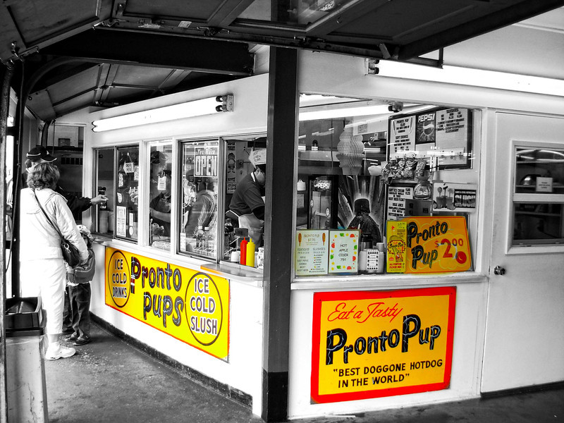 The last word in corn dogs at Pronto Pup on Broadway in Seaside, Oregon.  Made with an old fashioned revolving corn dog maker.