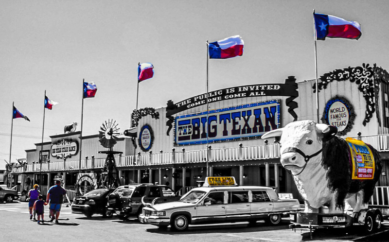 "They make 'em big in Texas.  The Big Texan in Amarillo will give you a 72 oz. steak for free if you can eat it with all the sides in under an hour.  The question, though, is Why?  <a href=""http://bigtexan.com/"">http://bigtexan.com/</a>"