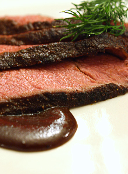 Choco Espresso Rubbed Flat Iron Steak with Chocolate Mole