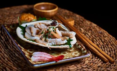 New York, New York - July 16, 2016 : Amber sashimi - Scallop, Uni, Sweet shrimp   Credit: Robert Altman