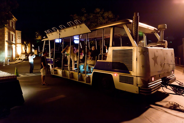The Universal Studios Tour Tram shuttles us to the backlot location of tonight's event