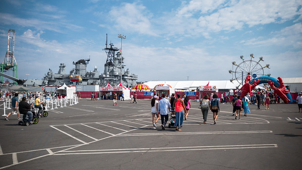 Pete and Linda inite us to check out the Port of Los Angeles Lobster Festival with them.  The event is not exactly located where we thought it would be...we are just steps from Battleship U.S.S. Iowa