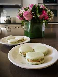 Cheryl tries a new flavor of macaron ... green tea and guava