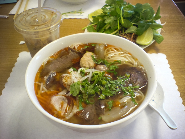 I order a large bowl of Bun Bo Hue from one of the places we frequent in Little Saigon