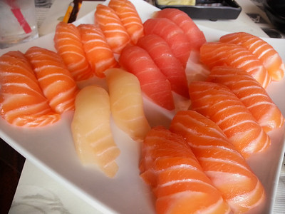 Note the predominance of salmon...this is why we go to Aji Sushi in Manhattan Beach