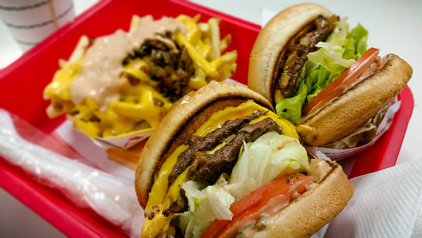 In and Out always delivers.  Double-double medium rare with grilled onions, fries well done animal-style...and a chocolate shake.