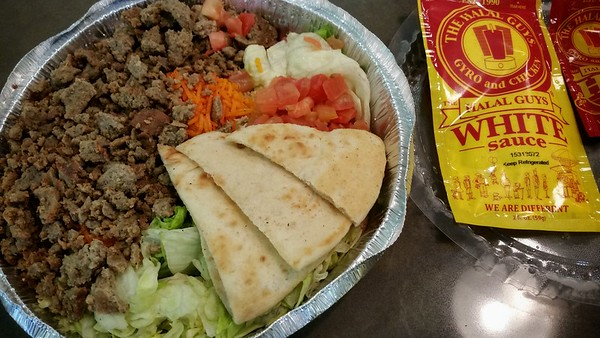 Finally getting to try The Halal Guys...been hearing about their food since Peter's epic eat-across-NYC trip. How many years ago was that?