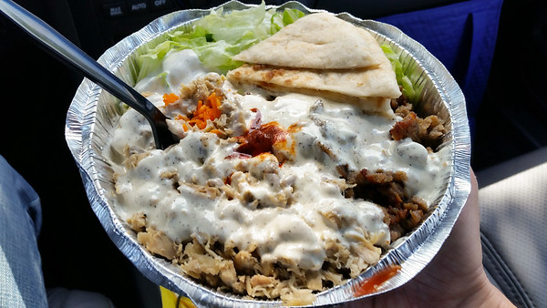 Is this enough white sauce, Pete?  I stopped by Halal Guys after attending an event at Tesla Costa Mesa