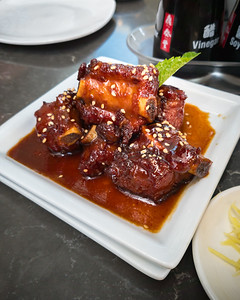 We try a couple of dishes we hadn't had before...along with all of our favorites of course (won't bother to share another round of photos of those dishes).  These Sweet & Sour Spare Ribs are really good!