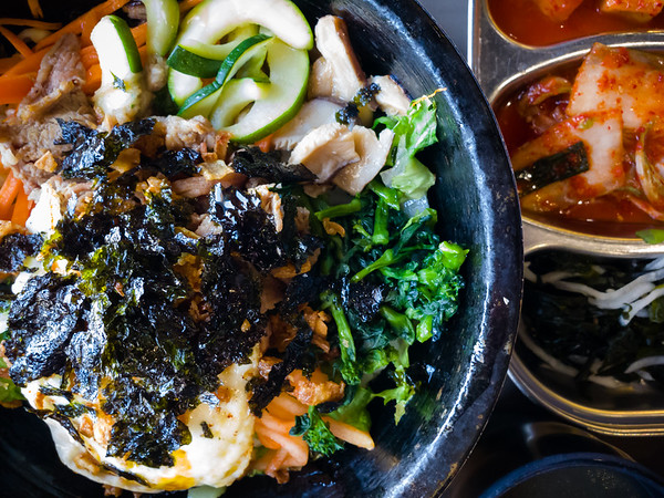 Valerie and I both get bibimbap in a clay pot...at the H Mart Food Court