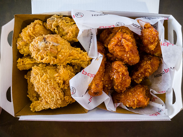 The whole chicken half & half is exactly that...one half of the order is their Golden Original and the other is a dipped variation of your choice.