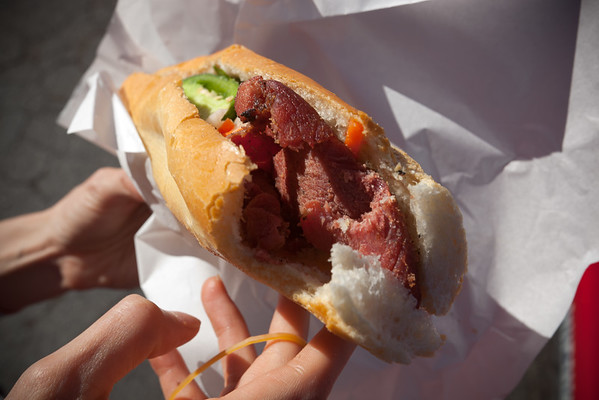 Their bánh mì is not as good as I hoped.  The quality of pork does not match our trucks and there's definitely not enough schmear.  Still...how can you complain when you get 6 sandwiches for $10?