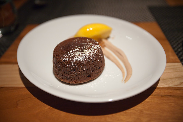 Valerie and I couldn't resist a warm chocolate lava cake with orange sorbet and chocolate chantilly cream