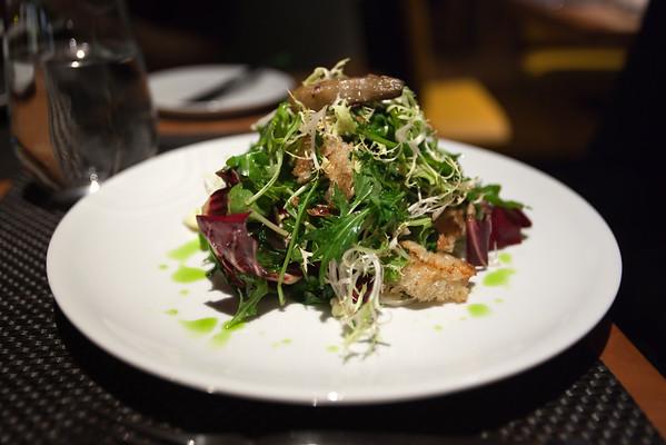 Valerie orders TDJ Warm Bread Salad...delicious!