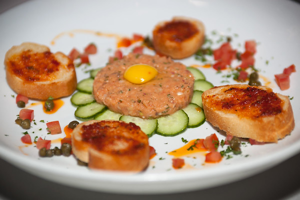 Salmon Tartare Salad...topped with a raw quail egg
