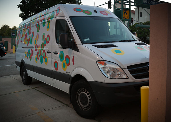 We pass by a Sprinkles delivery van as we return to Valerie's car