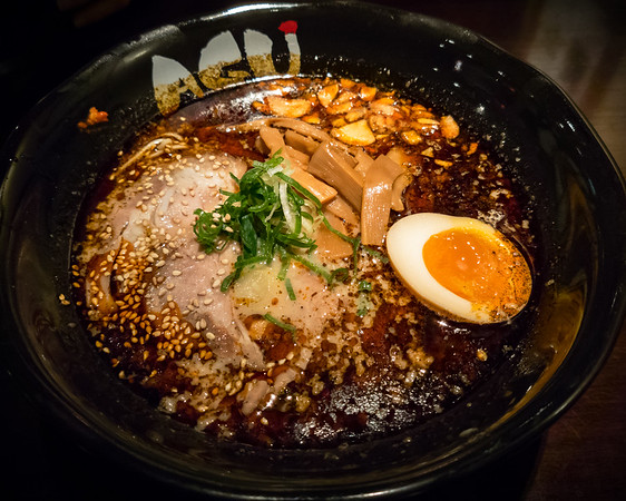 I opt for a level 3 Spicy Kotteri Tonkotsu...and, as with the Spicy Tonkotsu, it brings the heat. Fortunately, the porky and garlicky richness manages to cut through the spice. I too would likely have been satisfied with a level 2...if only to properly savor the other flavors in the bowl