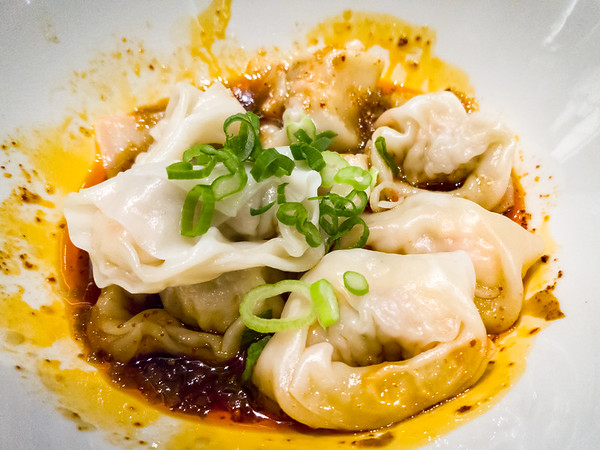 Shrimp and Pork Wontons in Spicy Sauce...more sweet than spicy