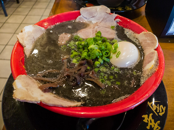 I opt for the tonkotsu black ramen, which I likewise have never ordered for myself.  In other words, we swapped our previous orders.