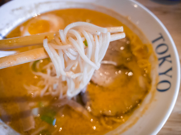 Noodles are a tad soft, but still have decent chew. I tend to favor thick noodles, but these are still satisfying.