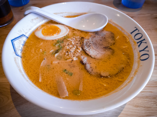 I opt for the Spicy Garnet, their spicy miso ramen. The broth is rich and creamy with a nice kick.
