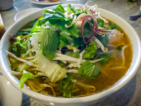 Bún bò Huế with the usual toppings