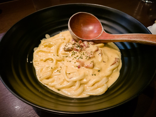 I opt for the Miso Carbonara Udon...because bacon!