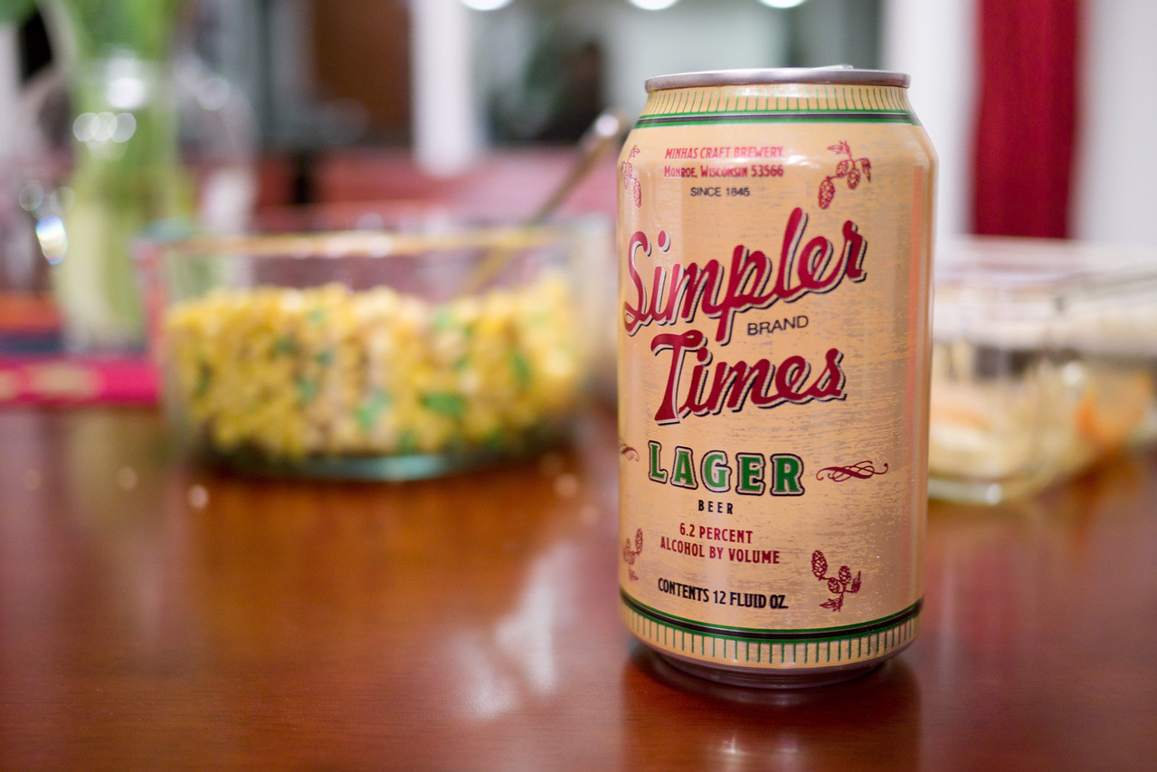 Simpler Times is like the two buck chuck of the beer aisle ; a cheap and surprisingly good lager. - shot with Panasonic DMC-GH2 1/15 sec at f/1.7, ISO 400 with 20 mm lens