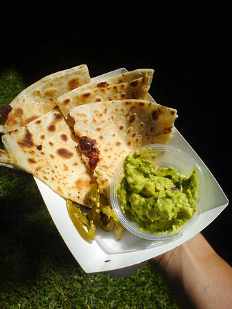 I order the Poblano Quesadilla ($5.00) and get upsold on adding guacamole ($0.50).  It is a bit more food than I was hungry for (after the Ciao Balla), but I am very glad that I ordered it.  Good stuff!