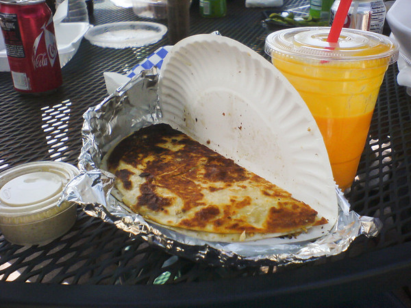 I try an order of India Jones' Gobhi Paratha...spicy goodness, but a tad greasy! Don't worry, Pete, I also had a Lamb Frankie.