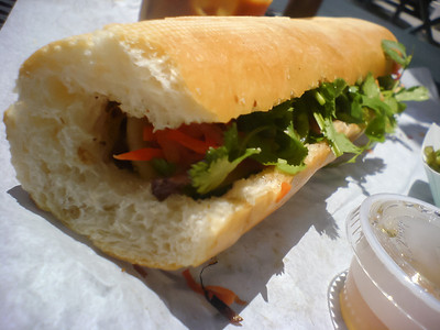 I am pleasantly surprised by their sandwich.  I like the flavor of Nom Nom's grilled pork better, but the bread had the perfect amount of crispness