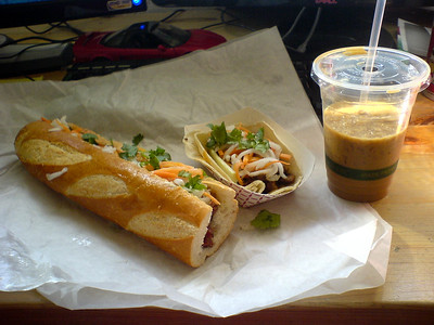 BBQ Pork Bánh mì, Lemongrass Chicken Taco, and what's left of the iced coffee