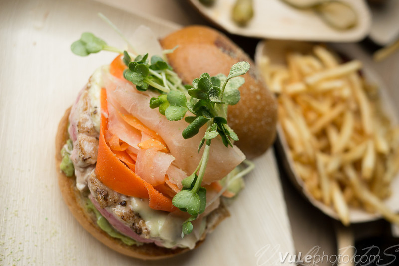 Ahi Tuna Burger - hand-chopped ahi tuna, crushed avocado, pickled ginger, sprouts, wasabi tartar spread.    I asked for mine rare.  It was fantastic.