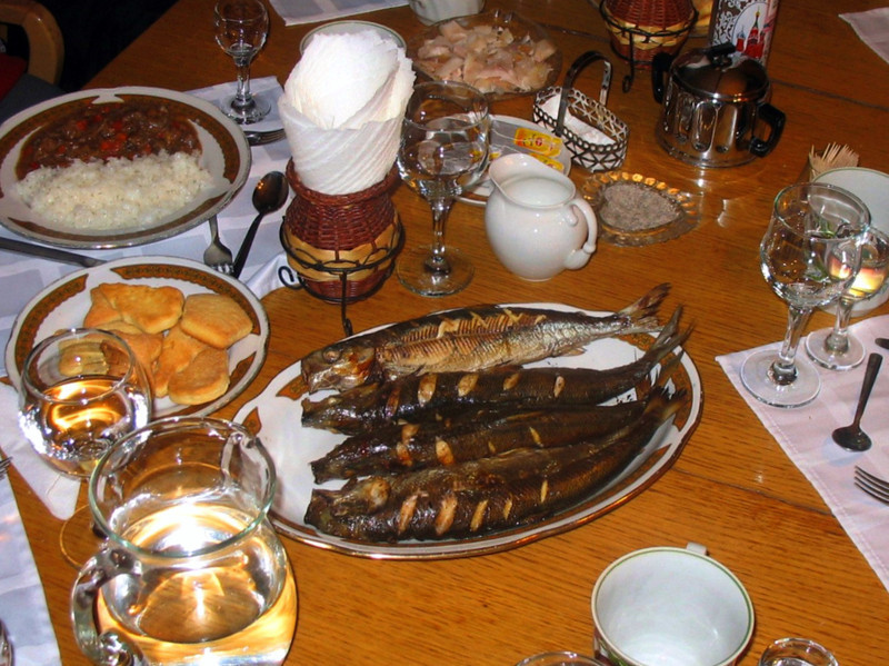 "Dinner near Lake Baikal in Buryatia. The fish known as ""Omul"" is endemic to Baikal, the world's oldest & deepest lake."