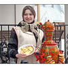 Some people have Mardi Gras, others have Carnavale. Russia has Maslenitsa, also known as Pancake Week. Originally a pagan festival celebrating the end of winter, today's Maslenitsa is a time of [over] indulgence before the start of Lent, and a celebration of the end of winter. The pancakes (blini in Russian), which are more like crêpes, symbolize the sun. Let's hope they'll be an early end to winter this year. <br /> <br /> The samovar with the teapot on top is done in traditional Russian style known as Khokhlama.