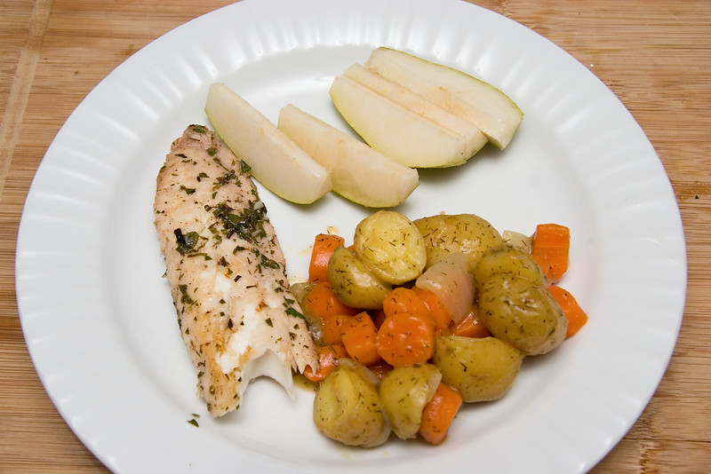 Grilled Tilapia with Lemon glazed Dill veggies and fresh pears