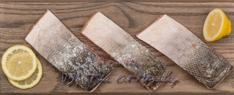 Frozen salmon fish slices