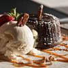Chocolate cake and vanilla ice cream