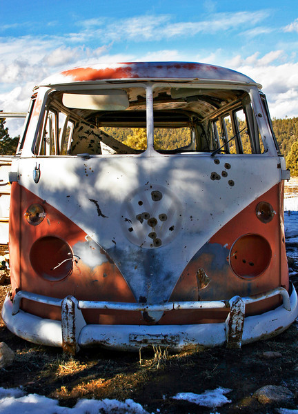 """""""Feeling Unwelcomed"""" Hippie bus in Truchas, NM. Yes, those are bullet holes."""